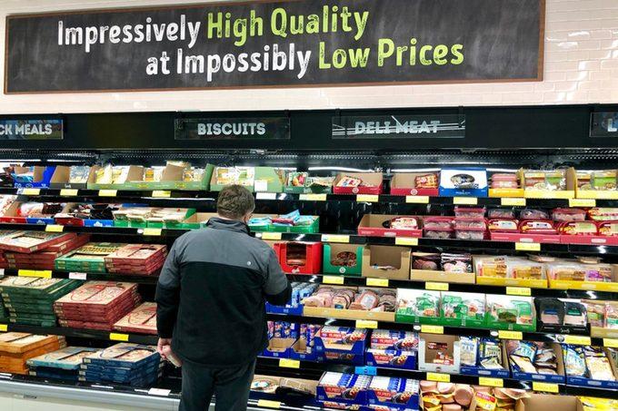 Aldi grocery store interior.