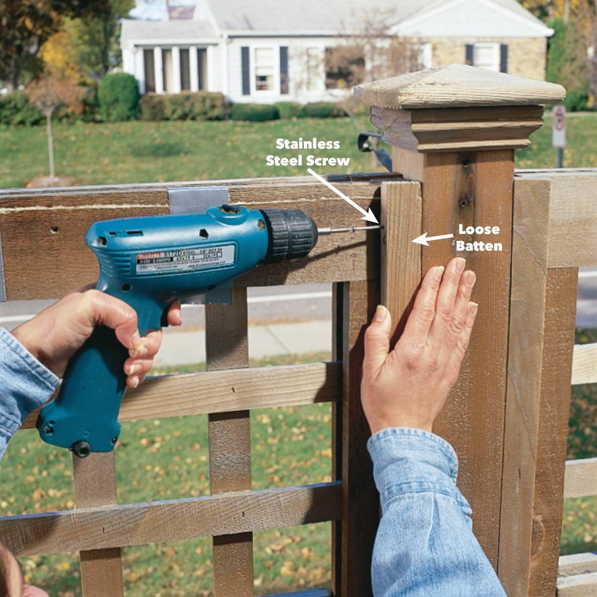 Tighten loose fence boards