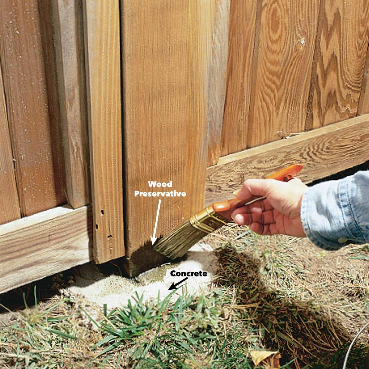 apply wood preservative to fence post