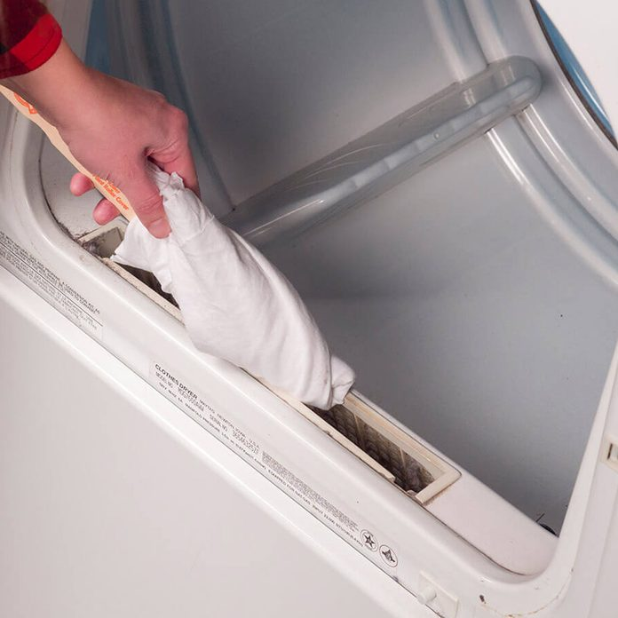 HH cleaning around lint trap on dryer laundry hack