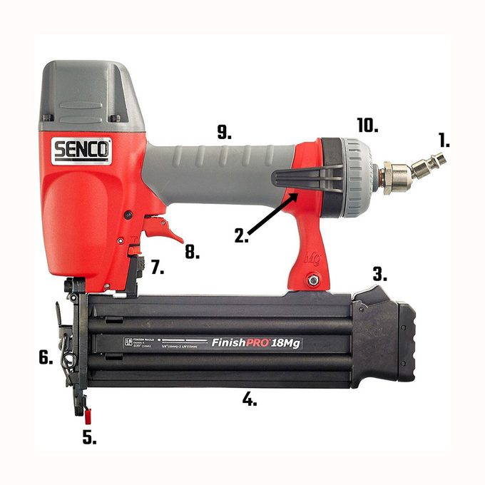 a brad nailer from senco with labeled parts | Construction Pro Tips