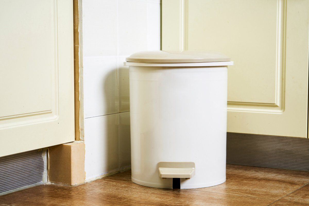 Trash can in the kitchen corner