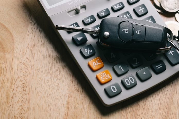 Keys from the car on money. used for background or material design.