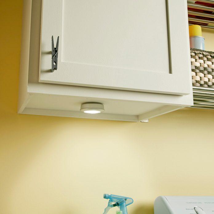 Laundry room organization ideas under cabinet lights