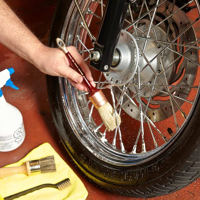 clean motorcycle wheel