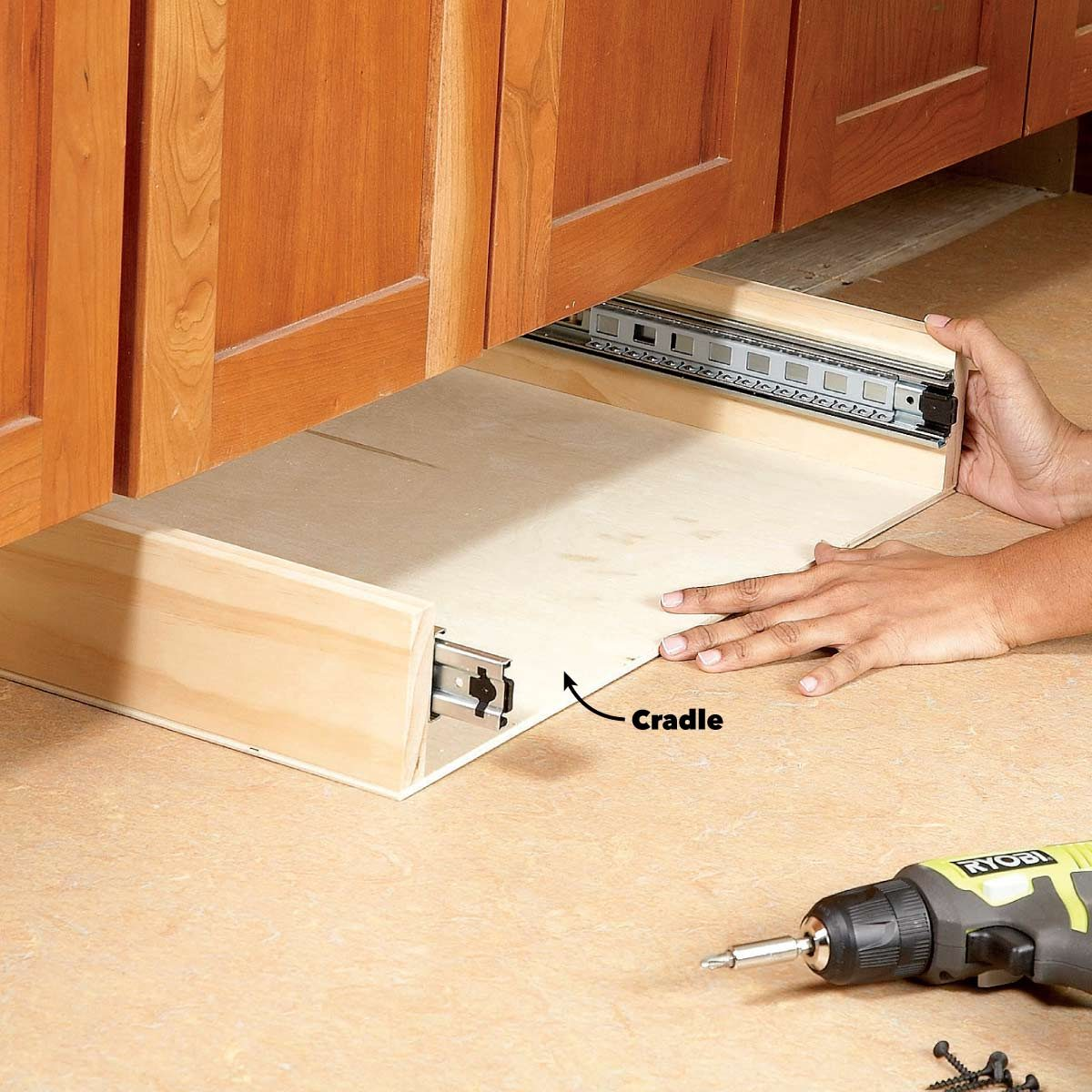 under cabinet drawers install the cradles