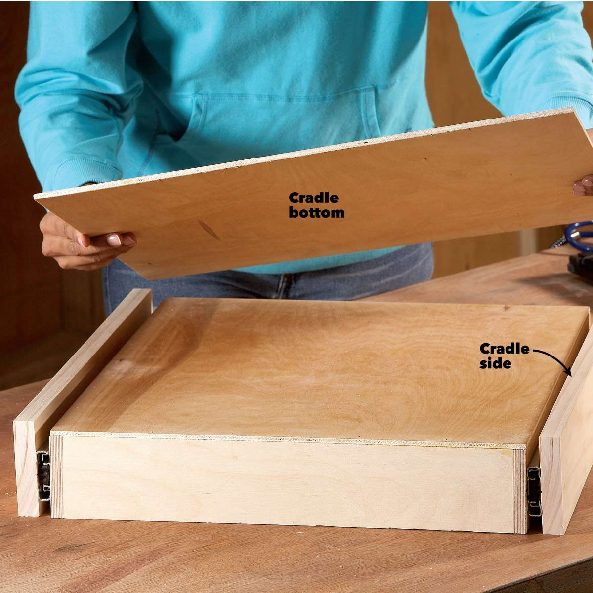 under cabinet drawer build the cradle