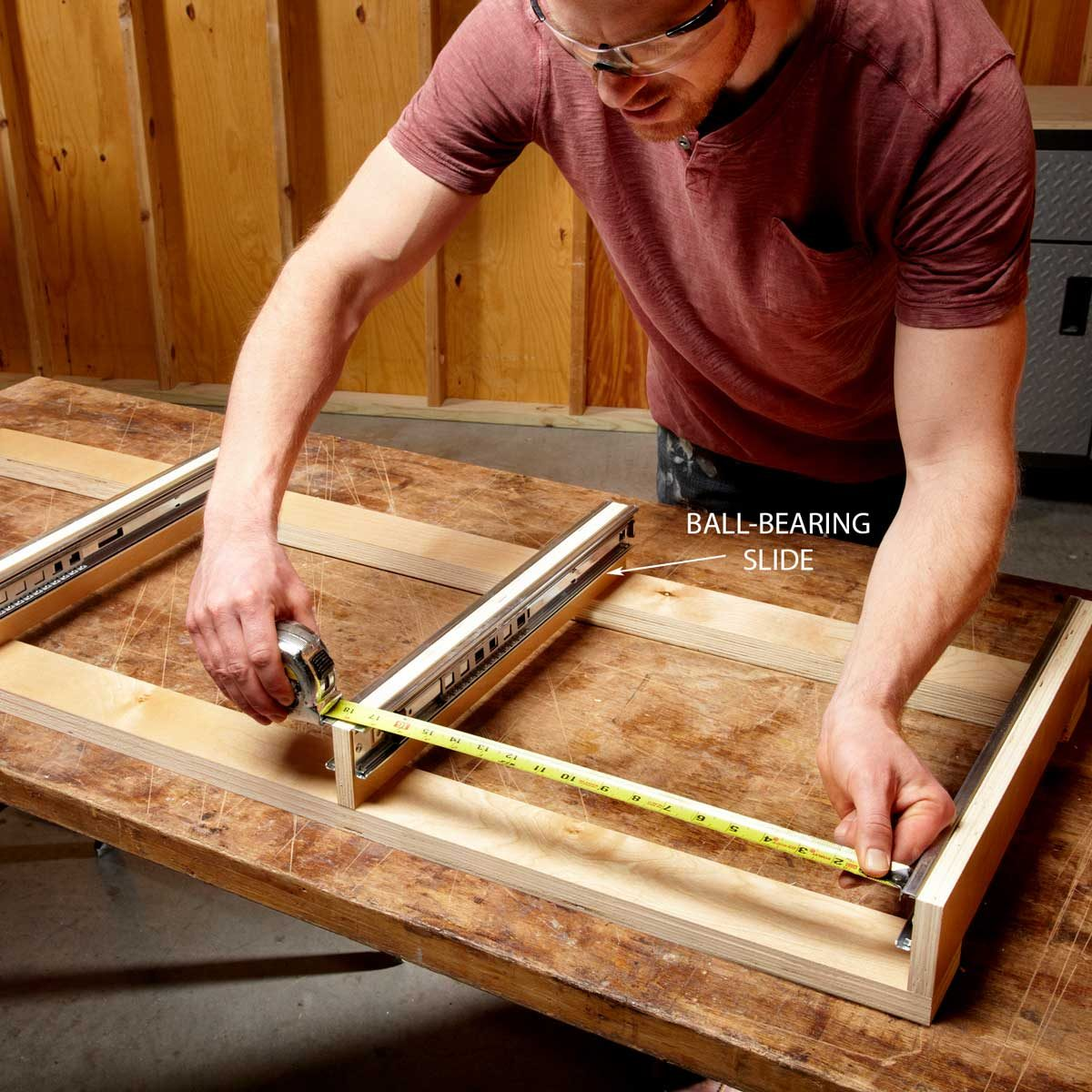 Build the drawer frame and measure for drawers