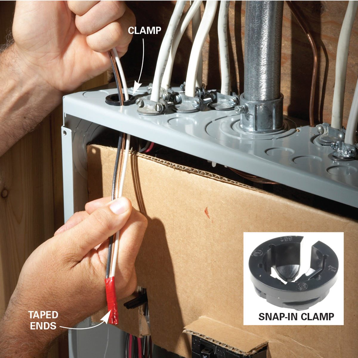 Run the cable through the clamp