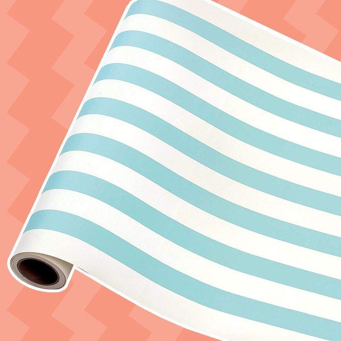 "Hester & Cook Paper Table Runner 20"" x 25' Roll - Seafoam Classic Stripe"