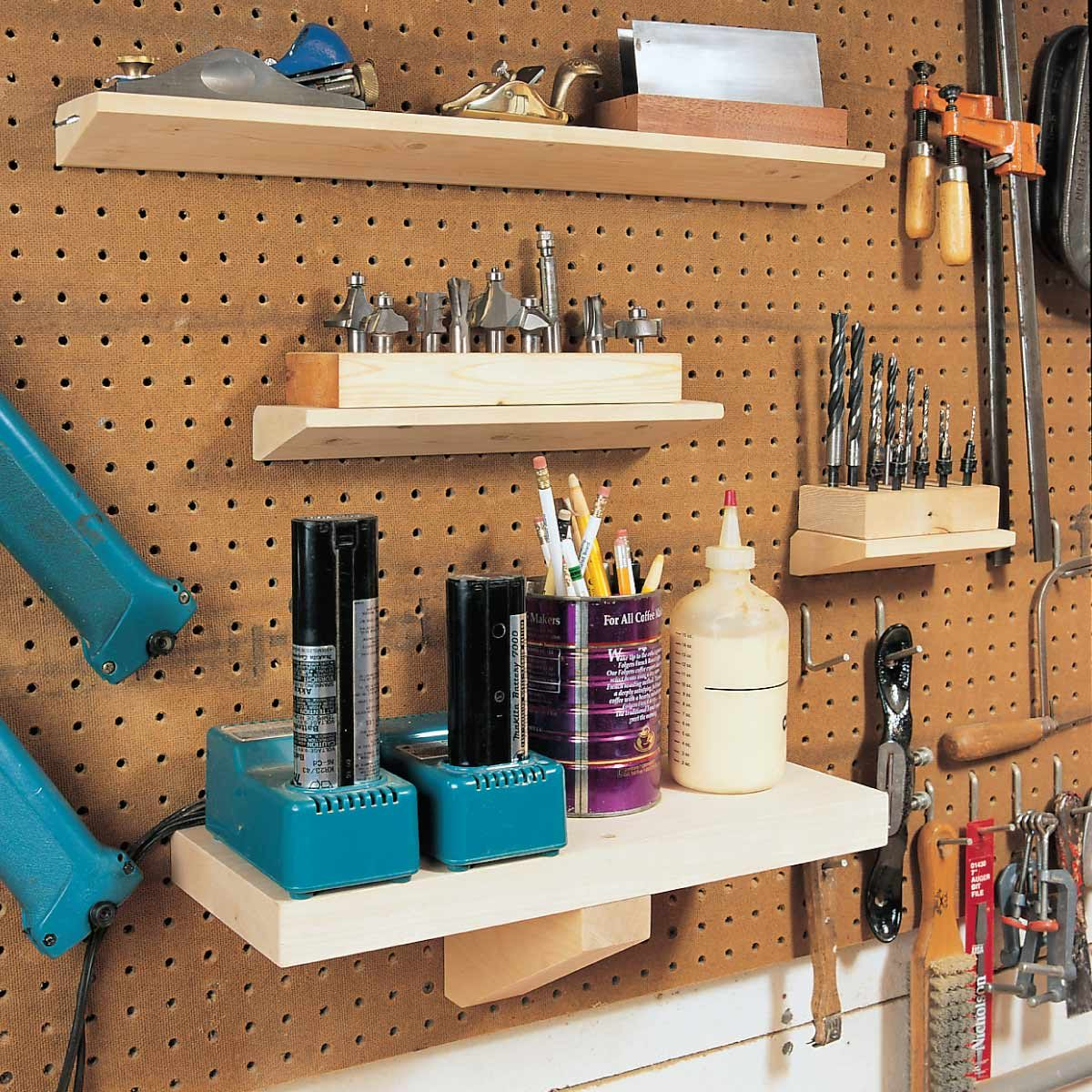 small workshop shelving pegboard shelving