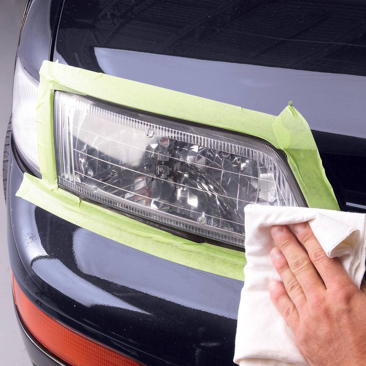 Buff polish car headlight