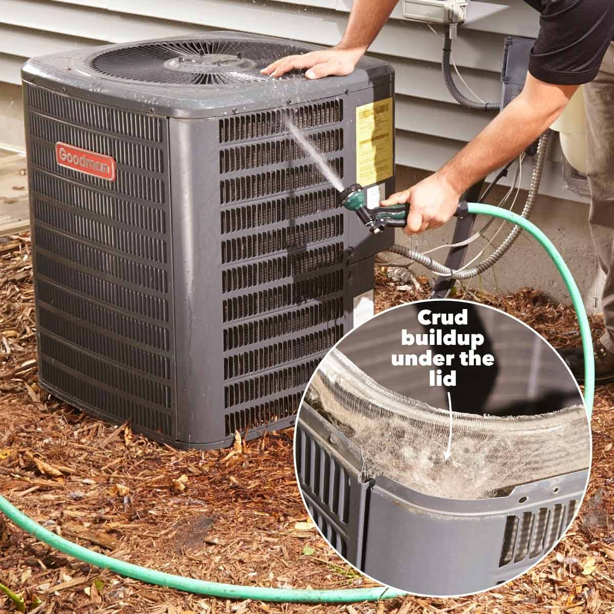 clean condenser coils on air conditioner