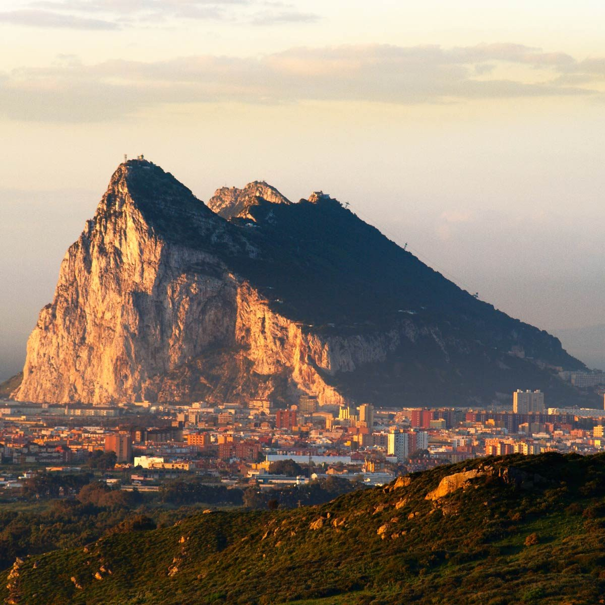 The rock of gibraltar in the morning dawn