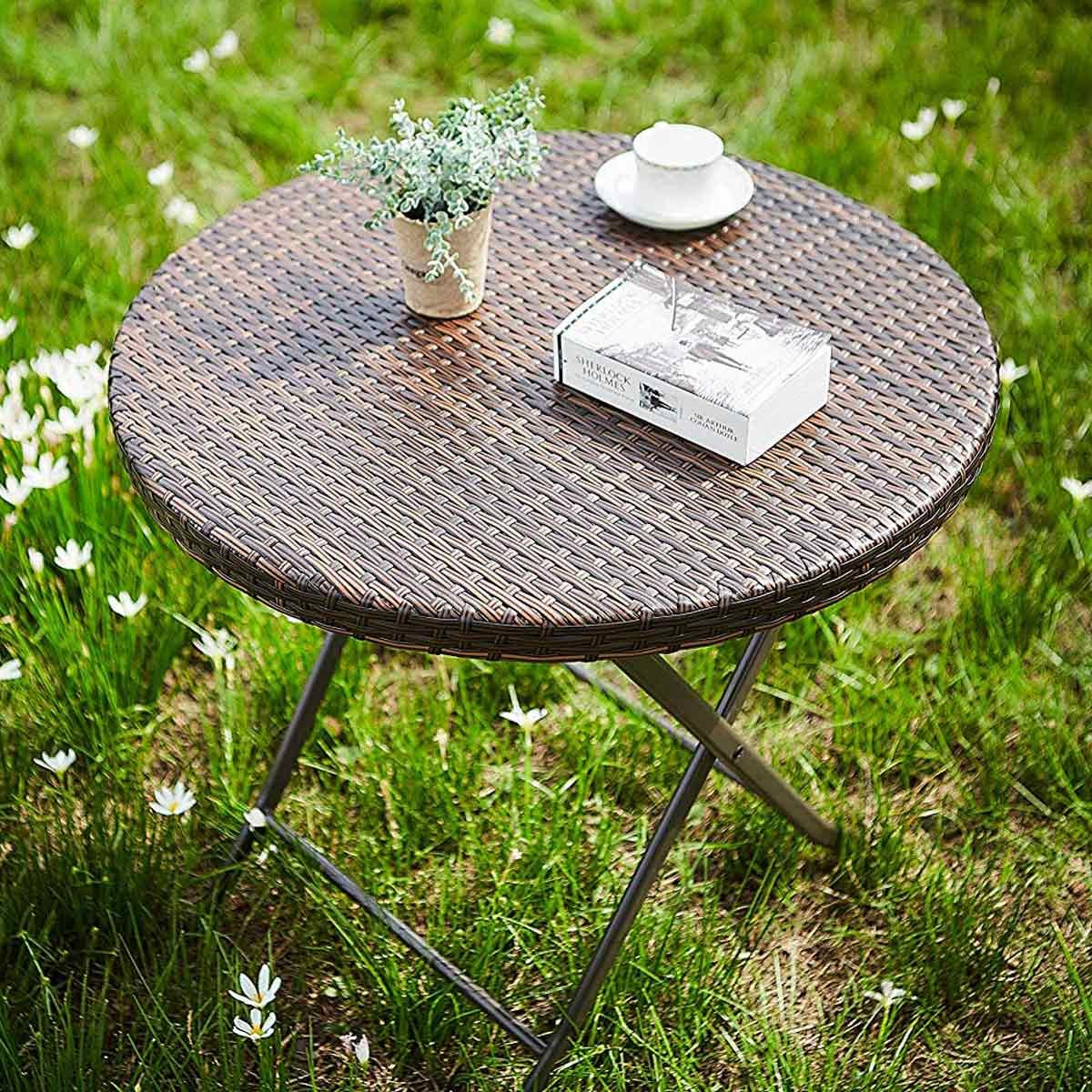 JIWU-Small-Outdoor-Rattan-Wicker-Folding-Picnic-Table-Patio-Porch-Bistro-Dining-Table