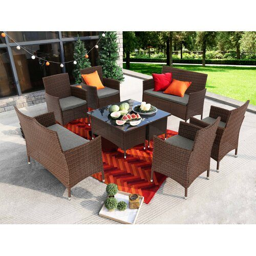 Kacey 8 Piece Sofa Seating Group with Cushions