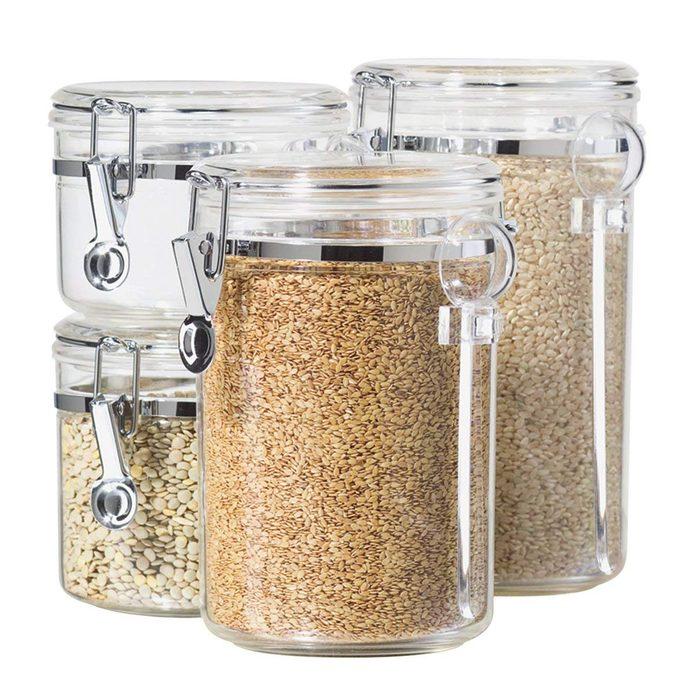 Oggi 4-Piece Acrylic Canister Set with Airtight Lids and Acrylic Spoons
