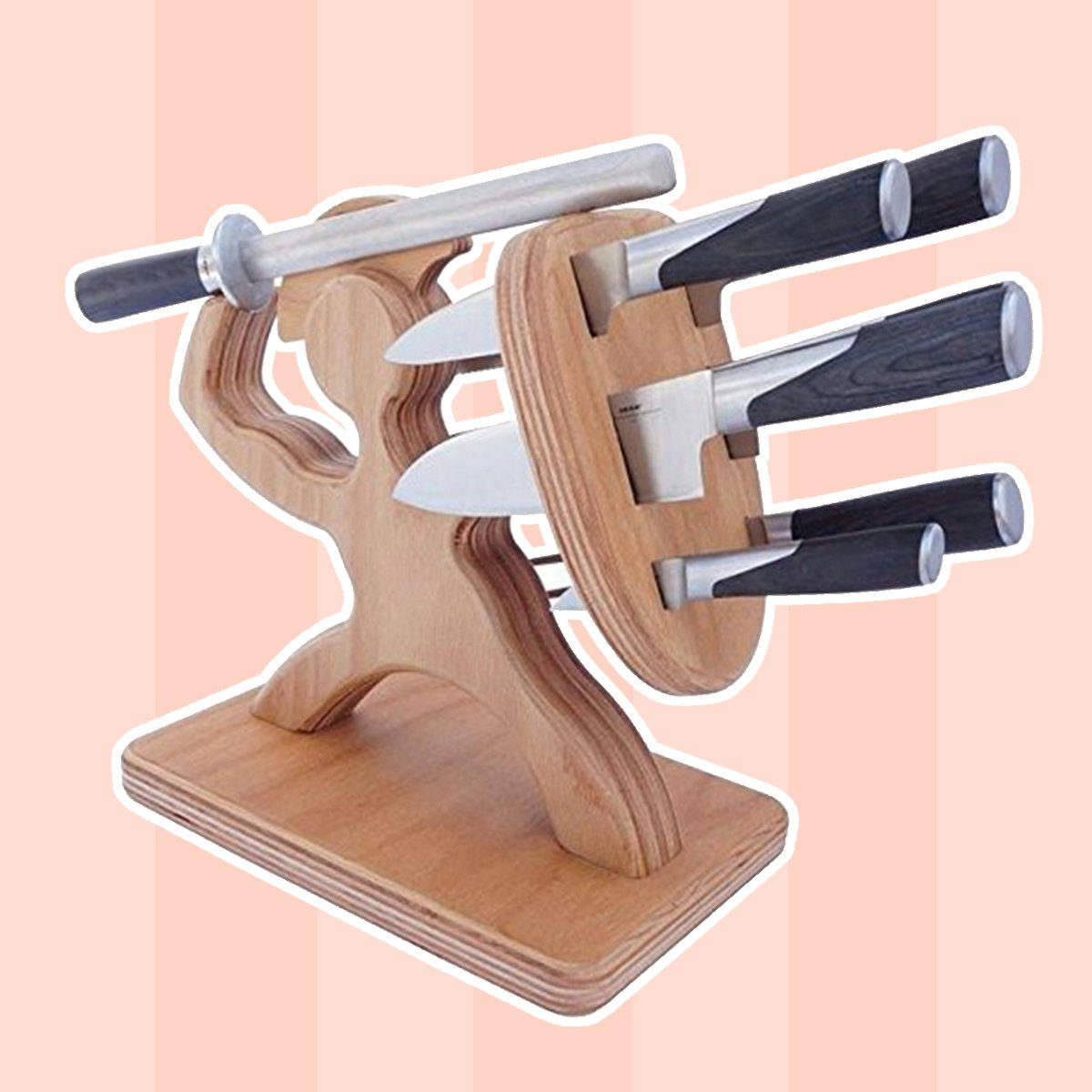 Spartan Knife Block - Handmade Premium Birch - Holds Your 6 Knives, Solid, Heavy, Magnetic Steel Holder (No Knives)