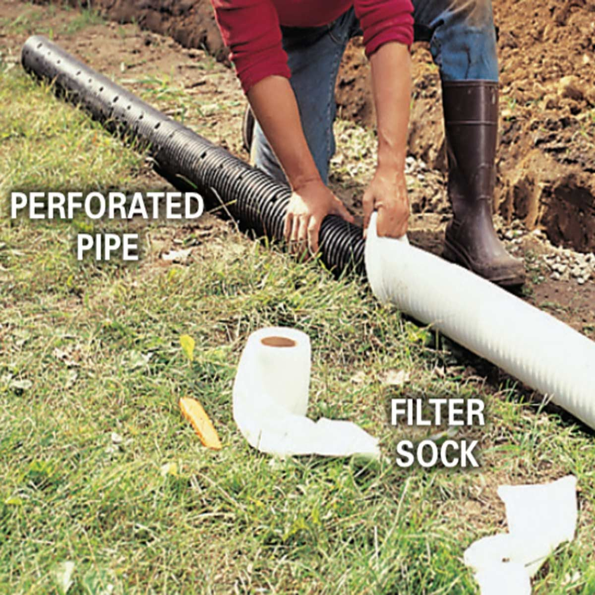 french drain: perforated pipe and filter sock