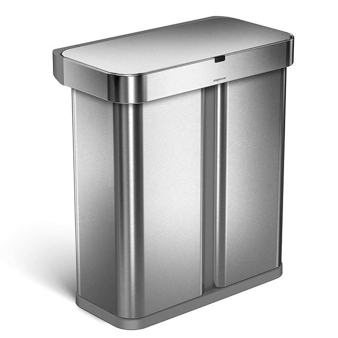 simplehuman-58-Liter-_-15.3-Gallon-Stainless-Steel-Touch-Free-Dual-Compartment-Rectangular-Kitchen-Trash-Can