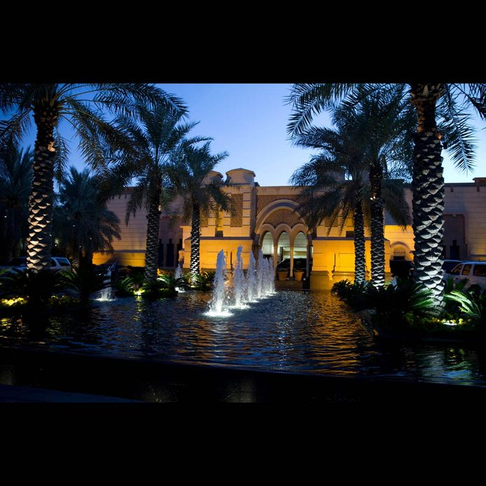 A water fountain adorns the Erga Palace in Saudi Arabia