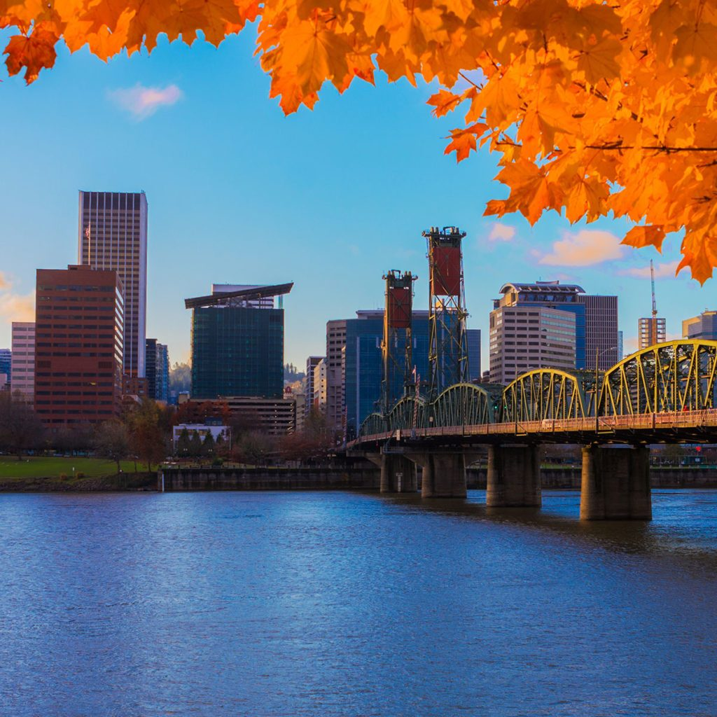 A view of Portland Oregon from the river