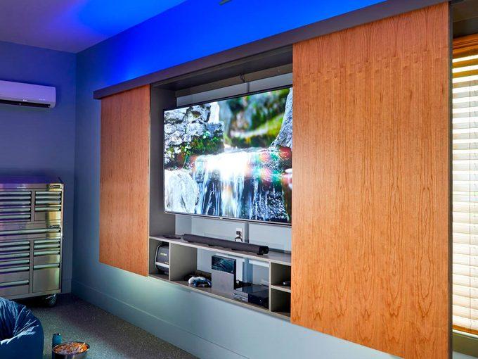 tv cabinet in garage