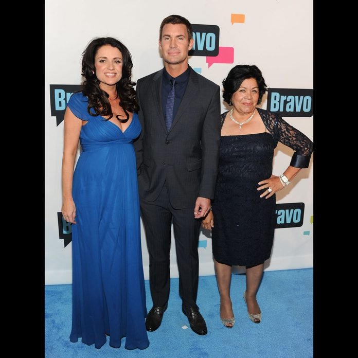 """Flipping Out"""" cast members, from left, Jenni Pulos, Jeff Lewis and Zoila Chavez attend the Bravo Network 2013 Upfront on in New York"""