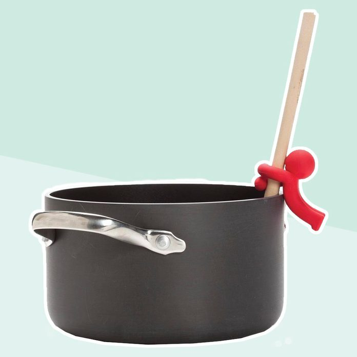 Monkey Business Spoon Saver - Hug Doug Silicone Spoon Saver and Rest, Adjustable to Most Kitchen Cooking Utensils, Red