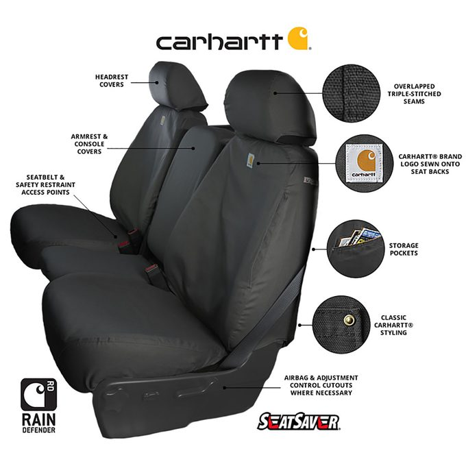 diagram showing the features of carhartt's seat covers