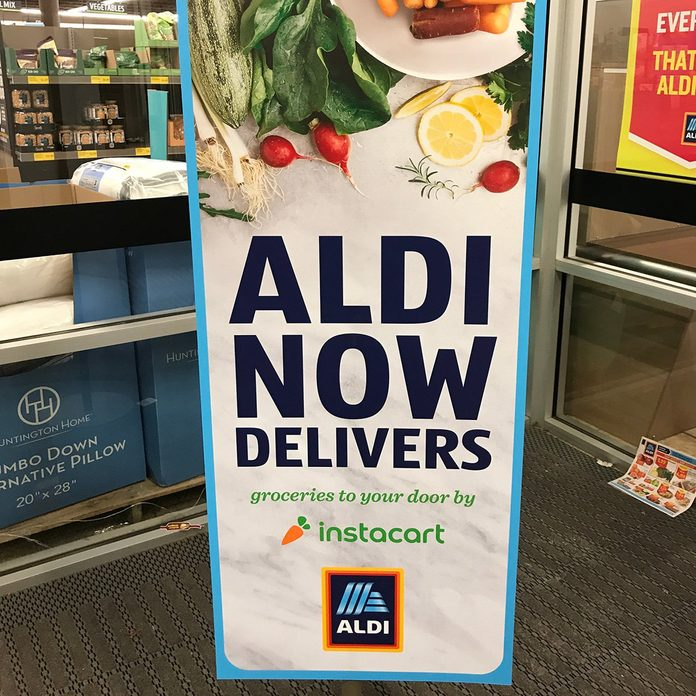 Interior of an Aldi store showcasing their new delivery option called Instacart.