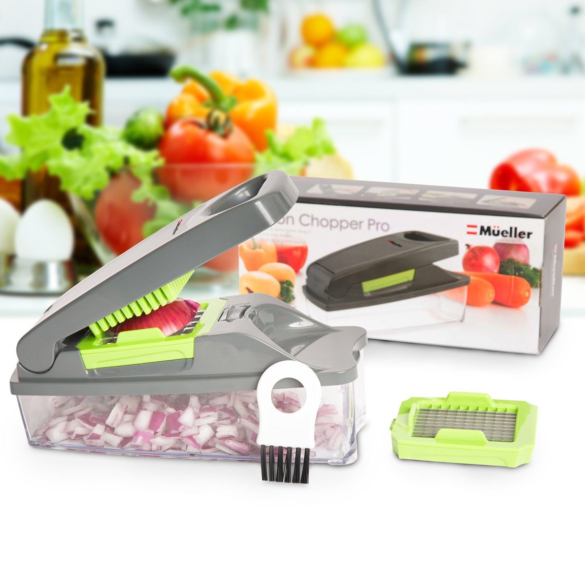 Mueller Austria SYNCHKG100176 Pro Strongest NO More TEARS 30% Heavier Duty Multi Vegetable-Fruit-Cheese-Onion Chopper-Dicer-Kitchen Cutter, Gray