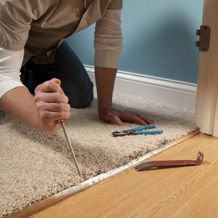 Reattach pulled-out carpet