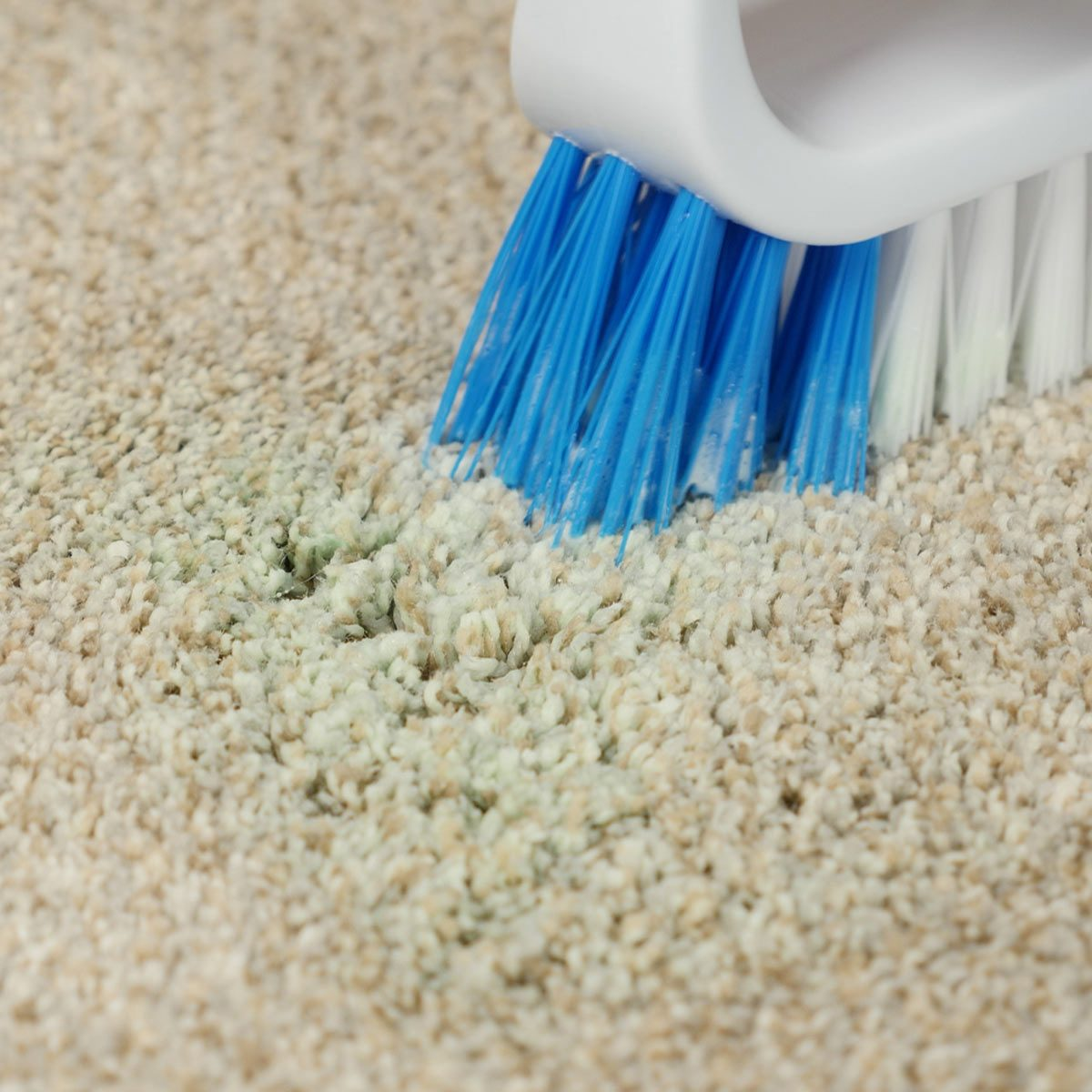 Scrubbing slime stain out of carpet