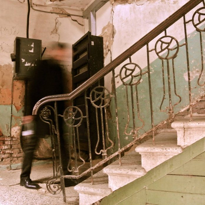 Stairs-up-inside-of-the-decadent-abandoned-old-house-in-Tbilisi-Georgia