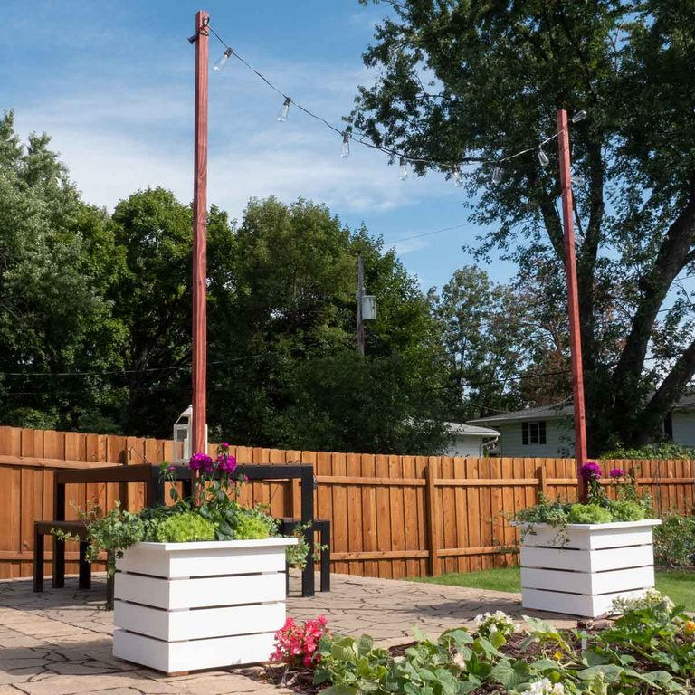 planter with string light pole featured image