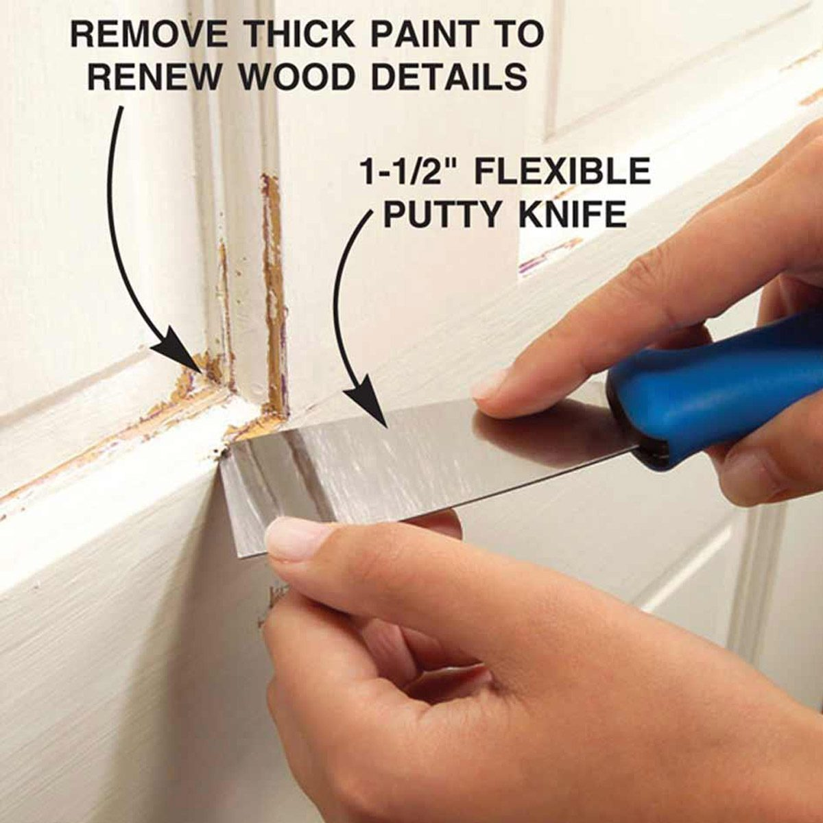 clean out corners with putty knife trim paint prep
