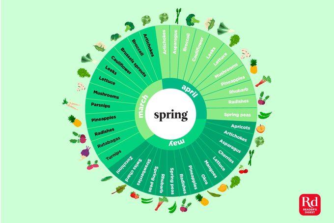 Illustration of in-season spring produce.