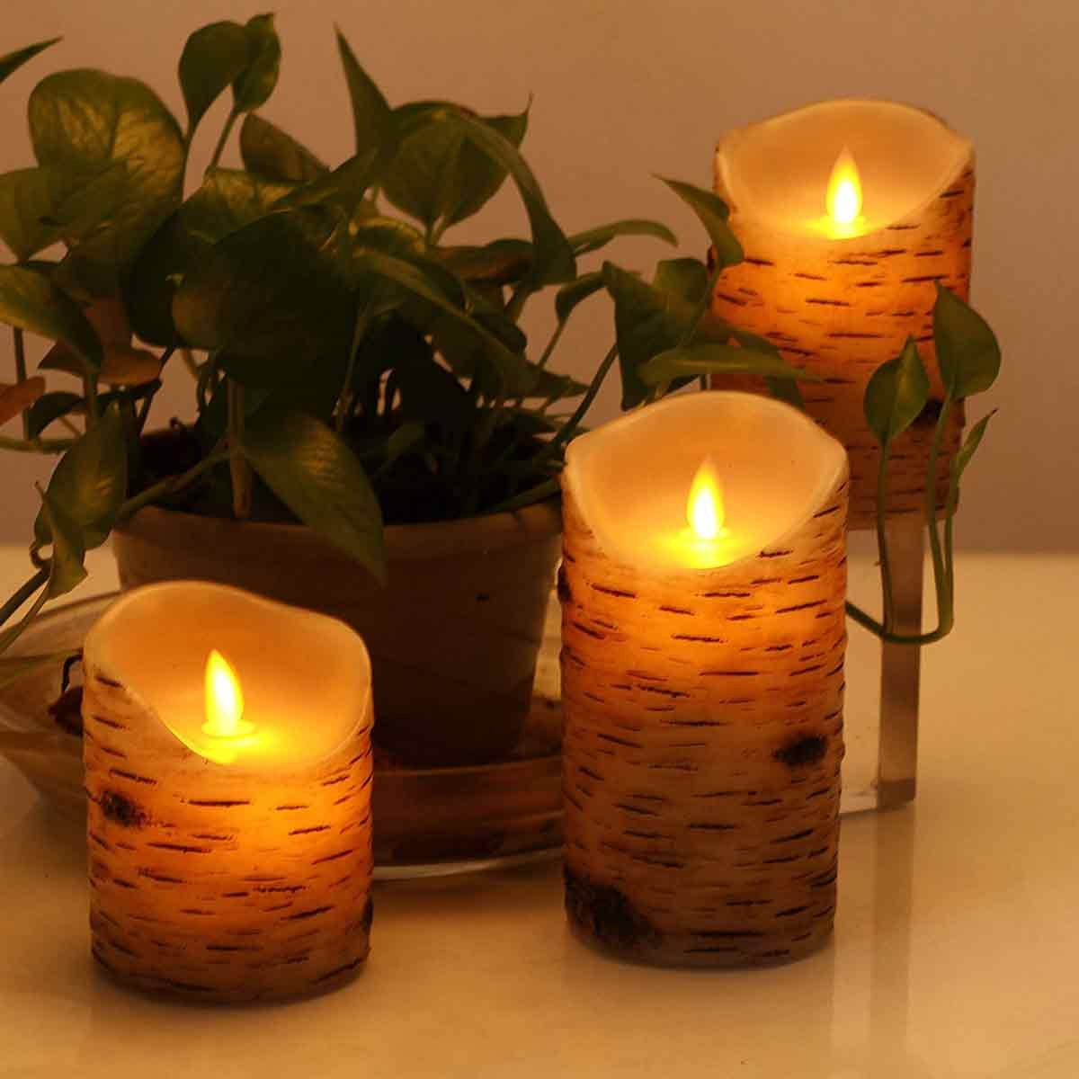 Birch bark battery powered candles