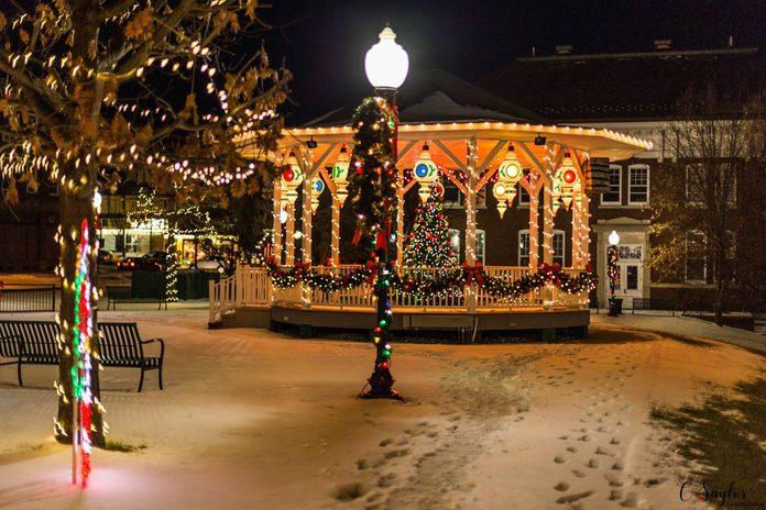 christmas lights town gazebo