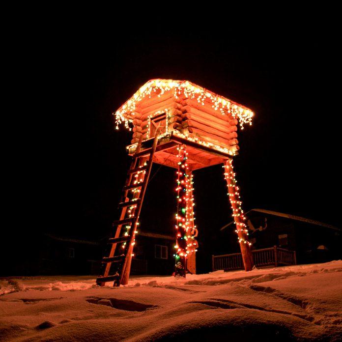 christmas lights tree house hunting lodge