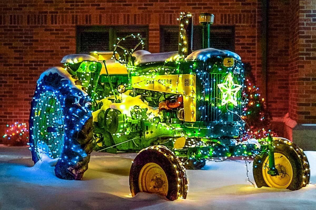 Christmas lights tractor