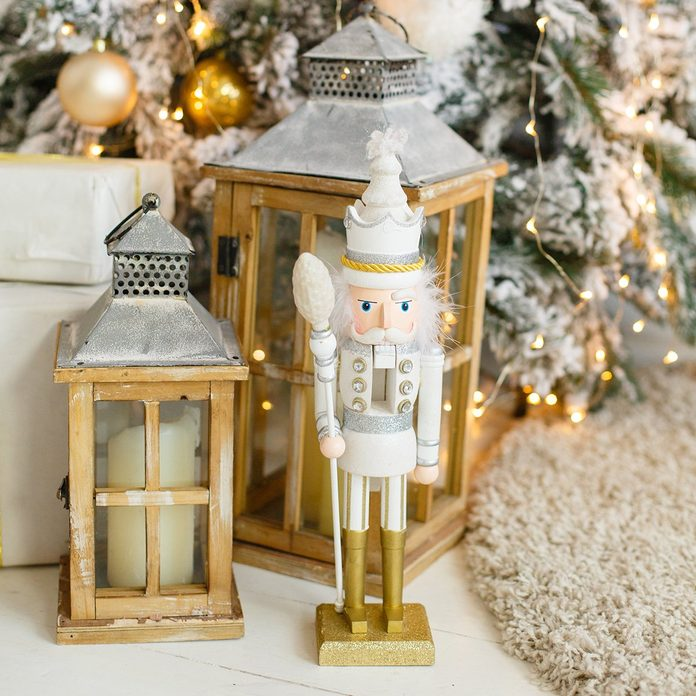 Classic vintage nutcracker on New Year background