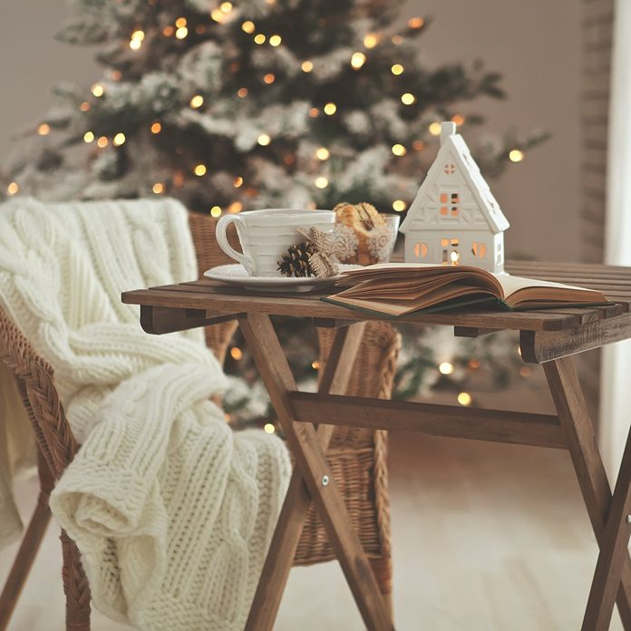 Christmas or new year decoration on modern wooden coffee table.