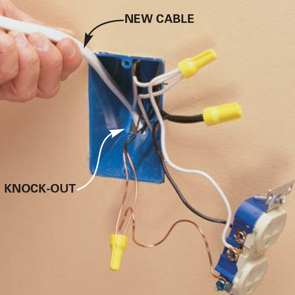 Feed new cable into the wall