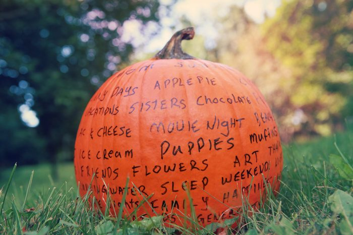 Thankful pumpkin autumn craft with words of gratitude printed on it outdoors sitting in the grass