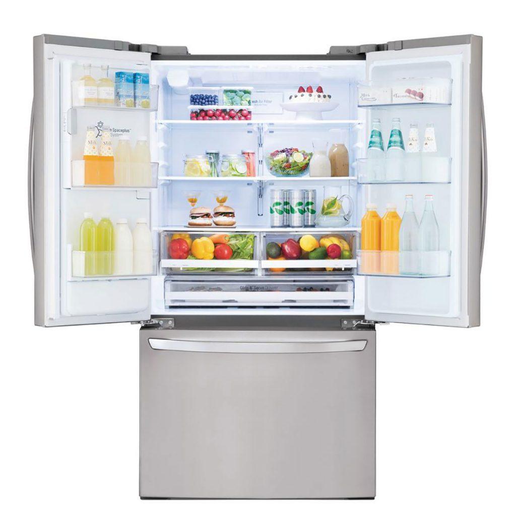 wide open smart fridge with deep storage space