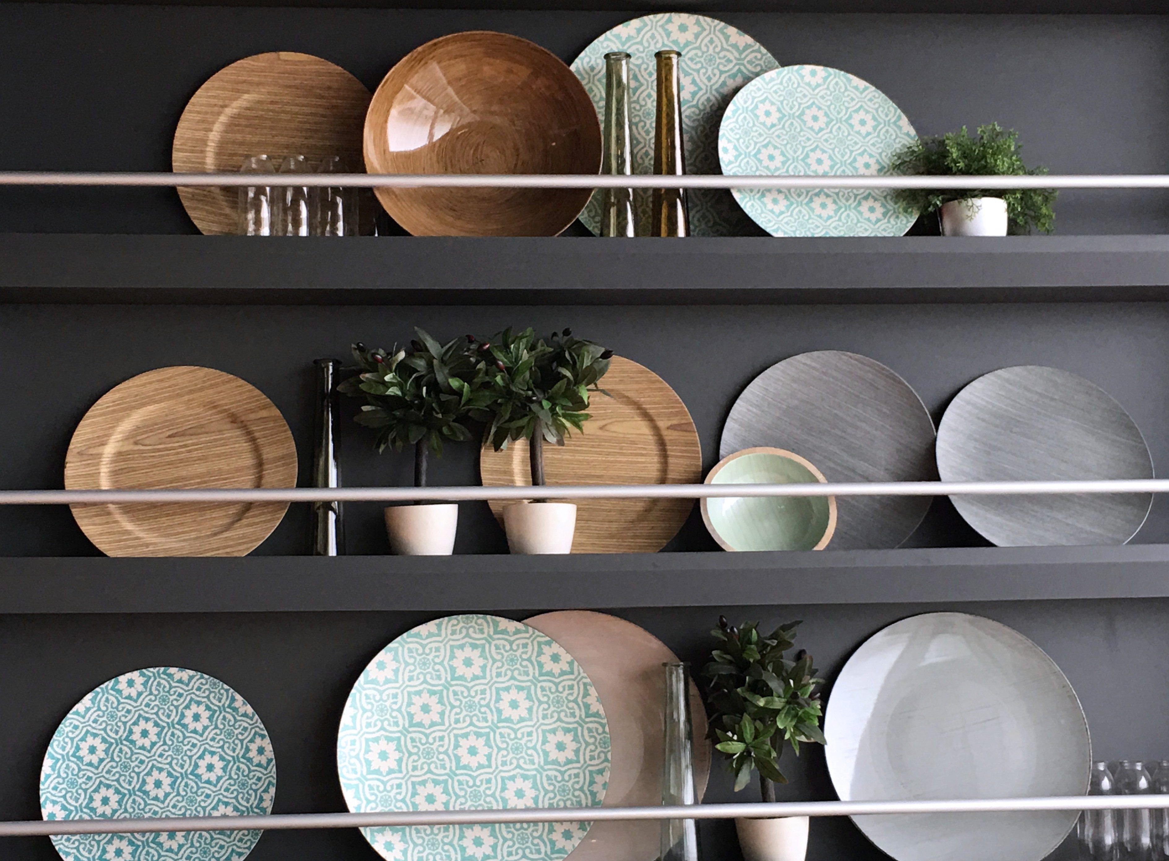 Dish shelf photographed in the kitchn