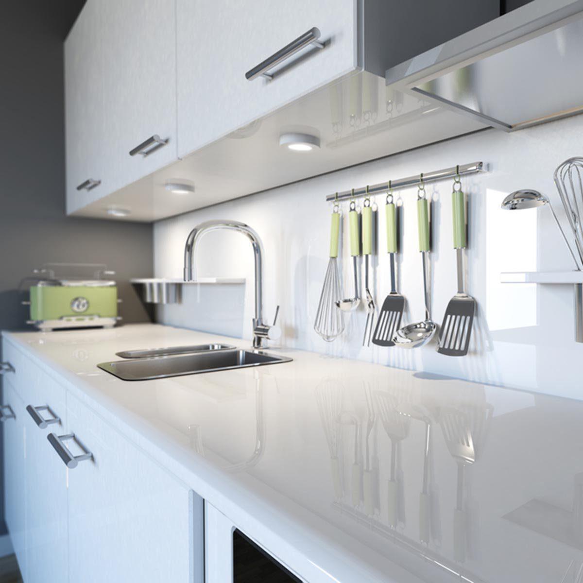 Modern white kitchen clean interior design; Shutterstock ID 119843548