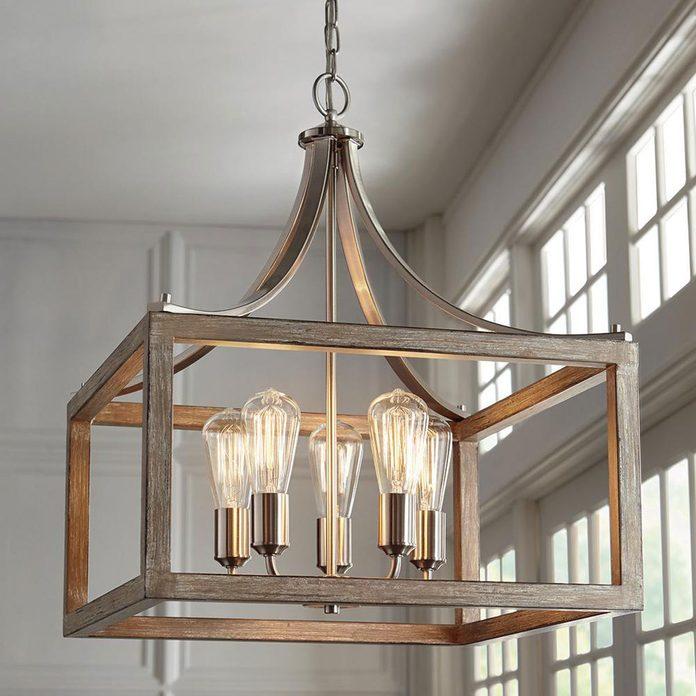 gray wood chandelier